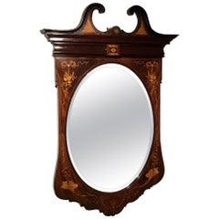 Marquetry Inlaid Edwardian Period Antique Wall Mirror