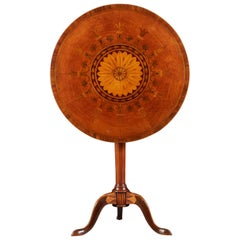 Marquetry Tilt Top Tripod Table