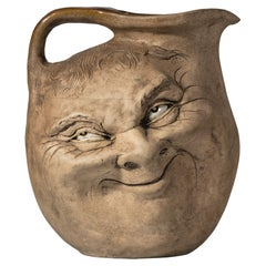 Martinware Double-Sided Stoneware Pottery 'Face' Jug, Dated 1896