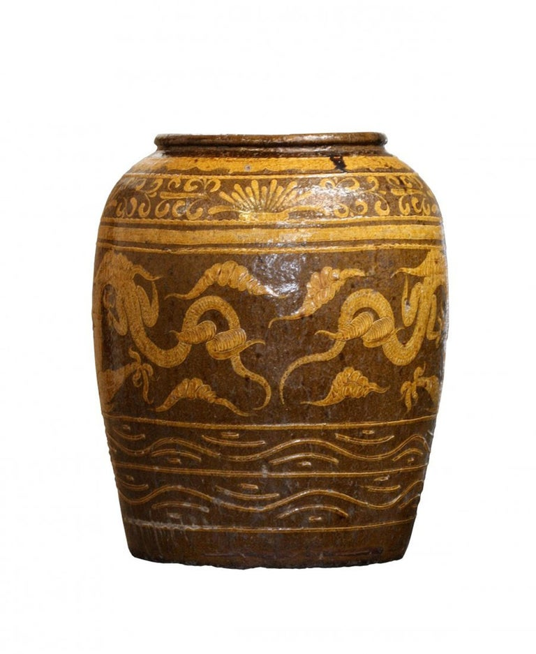 19th Century Massive Antique Chinese Earthenware Martaban Dragon Jar For Sale