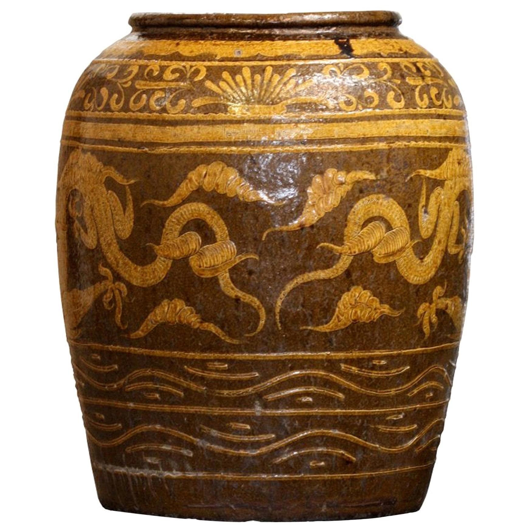 Massive Antique Chinese Earthenware Martaban Dragon Jar