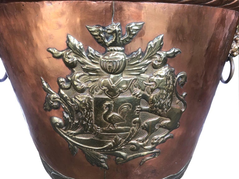 A Massive English Brass and Copper Log Bin with Armorial Crests For Sale 2