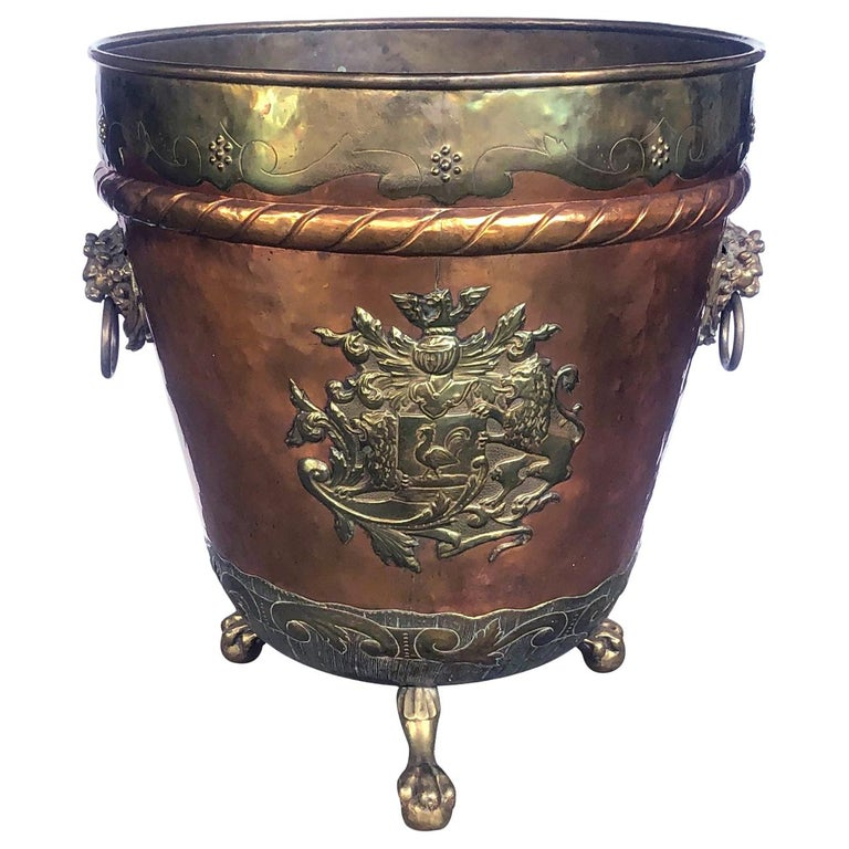 A Massive English Brass and Copper Log Bin with Armorial Crests For Sale