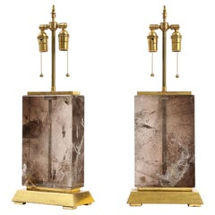 Massive Pair of 20th C. French Smokey Rock Crystal and Gilt Wood Base Lamps