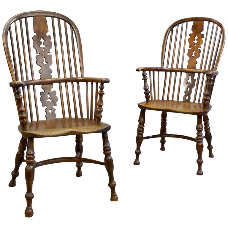 Two similar 19th Century Yew Wood and Elm Windsor Chairs, circa 1840