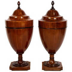 Matched Pair of English Mahogany Cutlery Urns