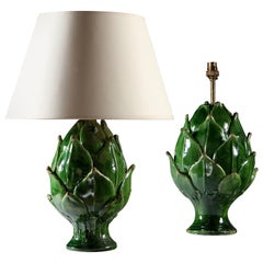 Matched Pair of Green Ceramic Artichoke Table Lamps