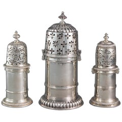 Matched Set of Three Late 17th Century Silver Casters