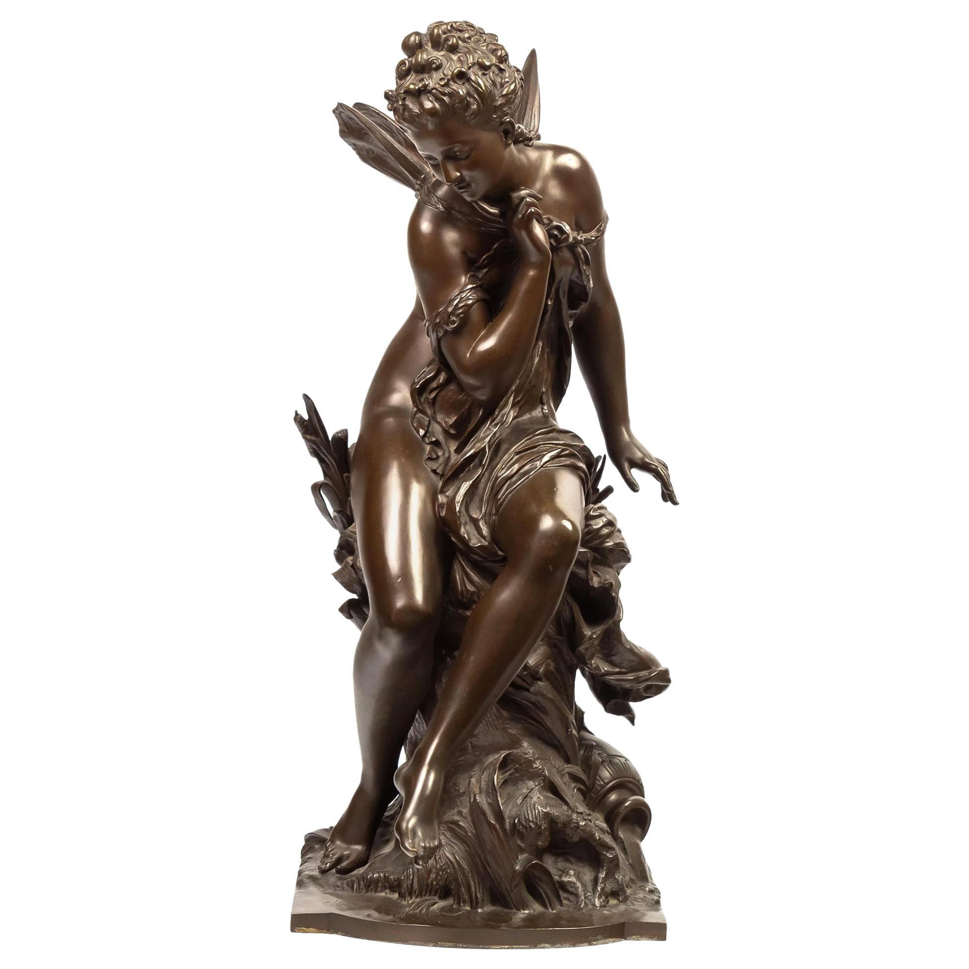 Mathurin Moreau Art Nouveau Allegorical Patinated Bronze Sculpture