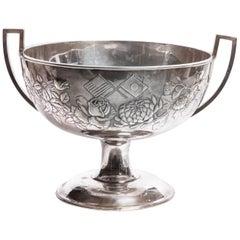 Meiji Japanese Repousse Silver Shigemitsu Signed Large Footed Bowl