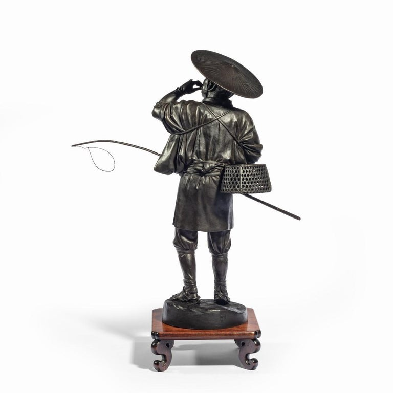 Meiji Period Bronze of a Cricket Catcher For Sale 6