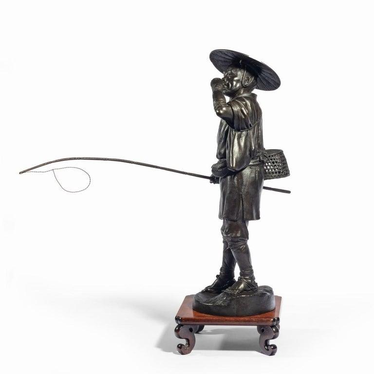 Meiji Period Bronze of a Cricket Catcher For Sale 7