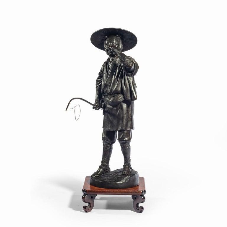 Meiji Period Bronze of a Cricket Catcher For Sale 8