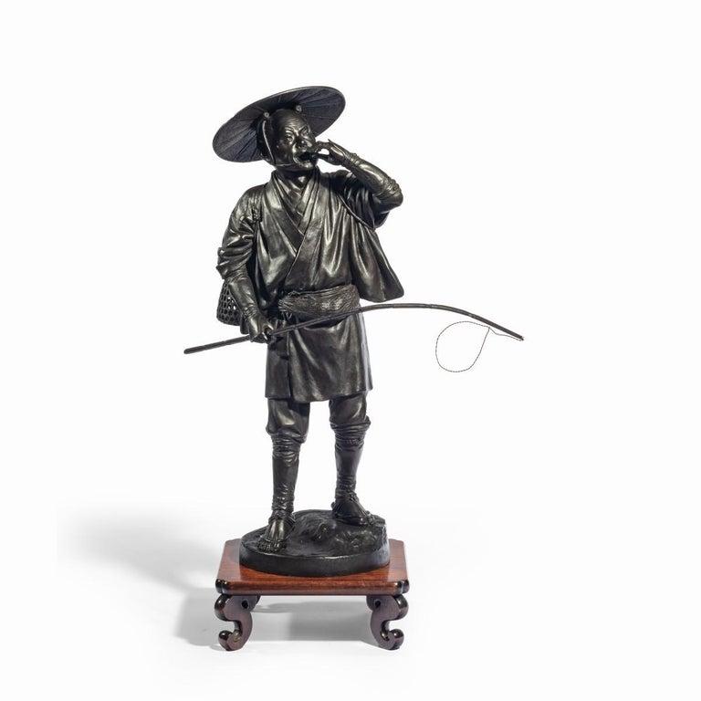Meiji Period Bronze of a Cricket Catcher For Sale 9