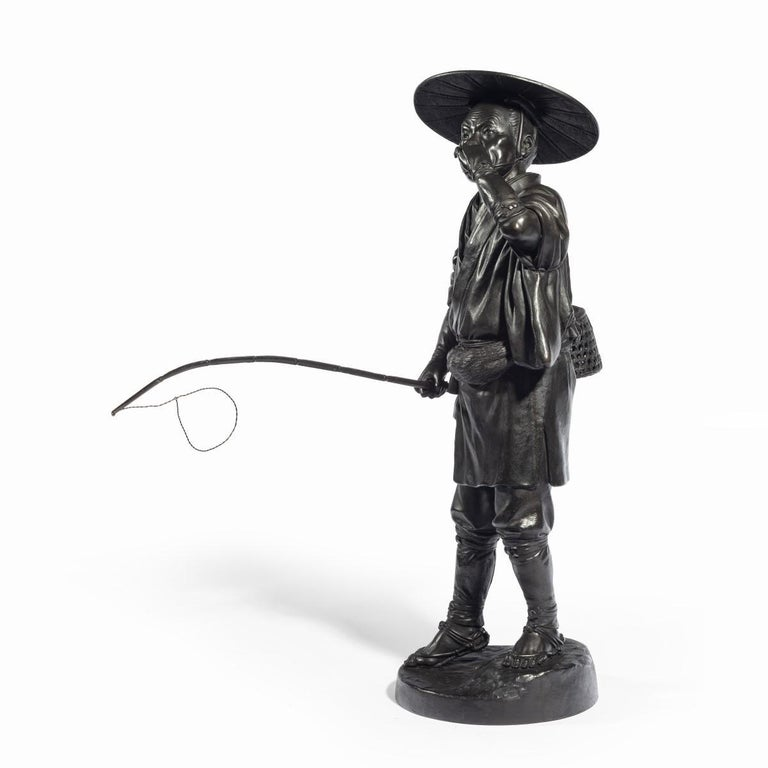 Japanese Meiji Period Bronze of a Cricket Catcher For Sale