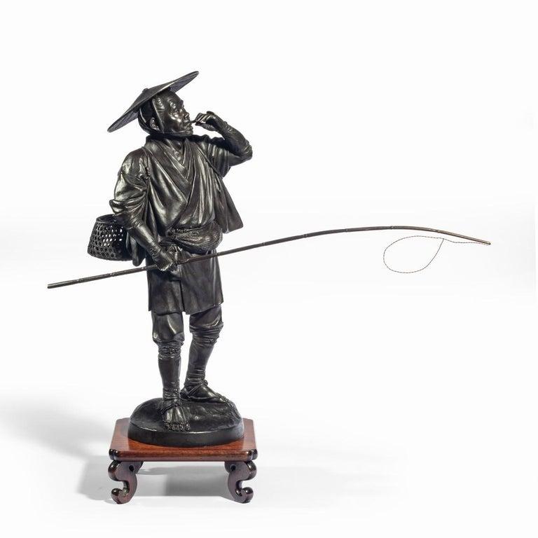 19th Century Meiji Period Bronze of a Cricket Catcher For Sale
