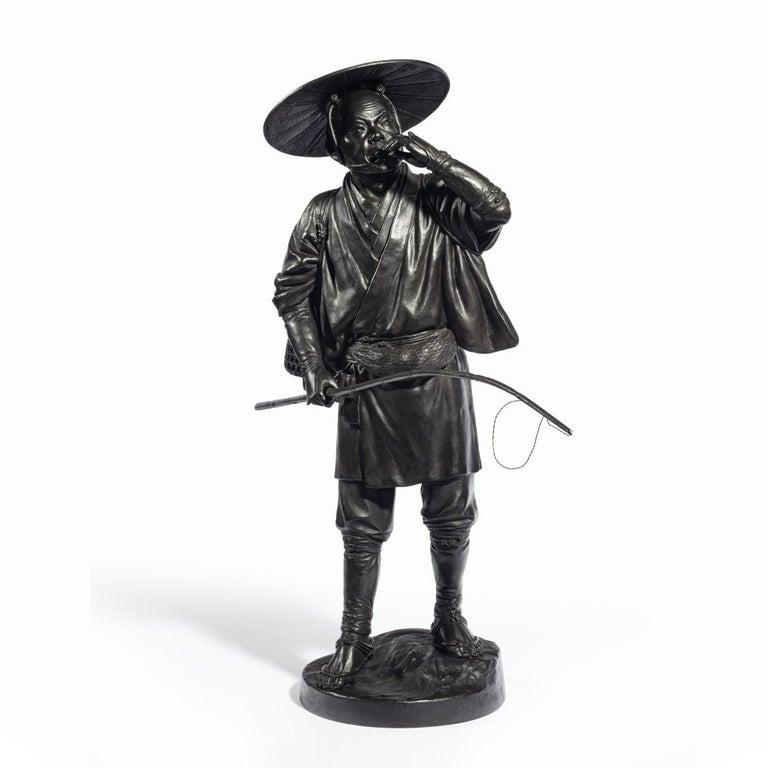 Meiji Period Bronze of a Cricket Catcher For Sale 4