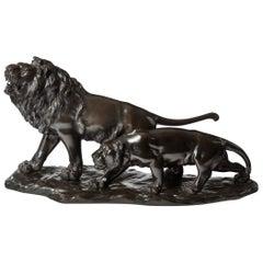 Meiji Period Bronze Study of a Lion and Lioness by 'Genryusai Seiya'
