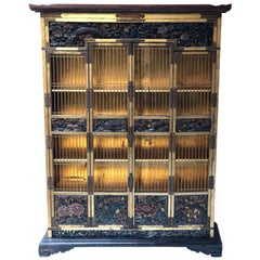 Meiji Period Japanese Gilt Lacquered and Polychrome Cabinet