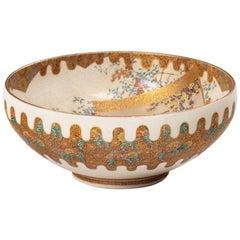 Meiji Period Satsuma Earthenware Bowl