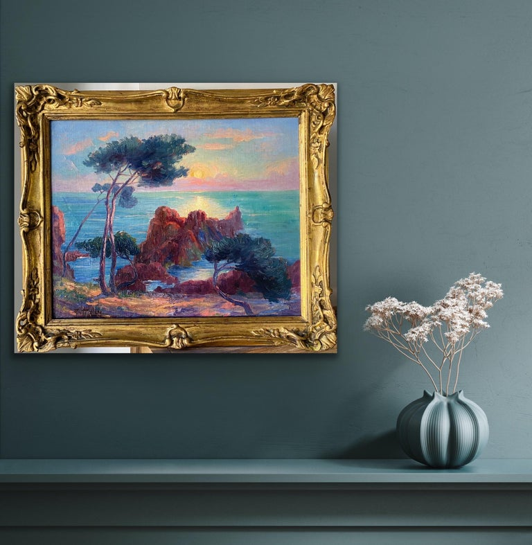 19th century French Impressionist Sunset Seascape Sea Mediterranean Coast Monet For Sale 6
