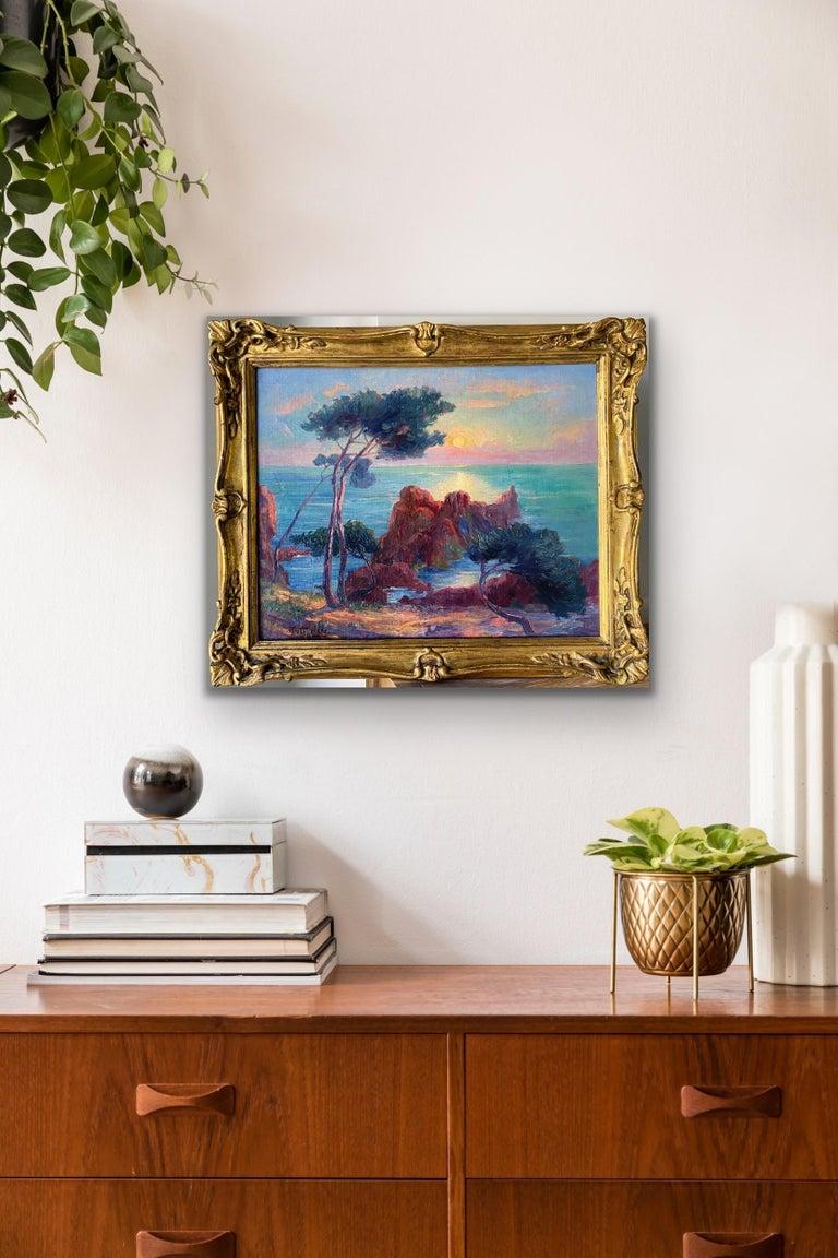 19th century French Impressionist Sunset Seascape Sea Mediterranean Coast Monet For Sale 8
