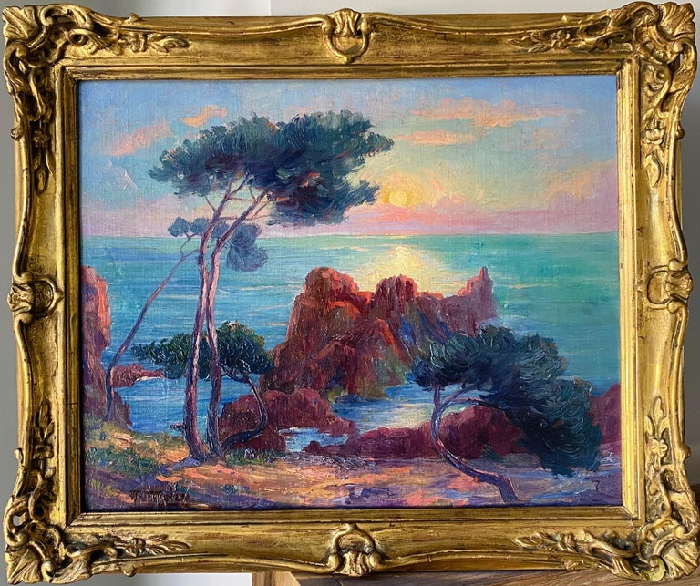 19th century French Impressionist Sunset Seascape Sea Mediterranean Coast Monet - Black Landscape Painting by A. Meley