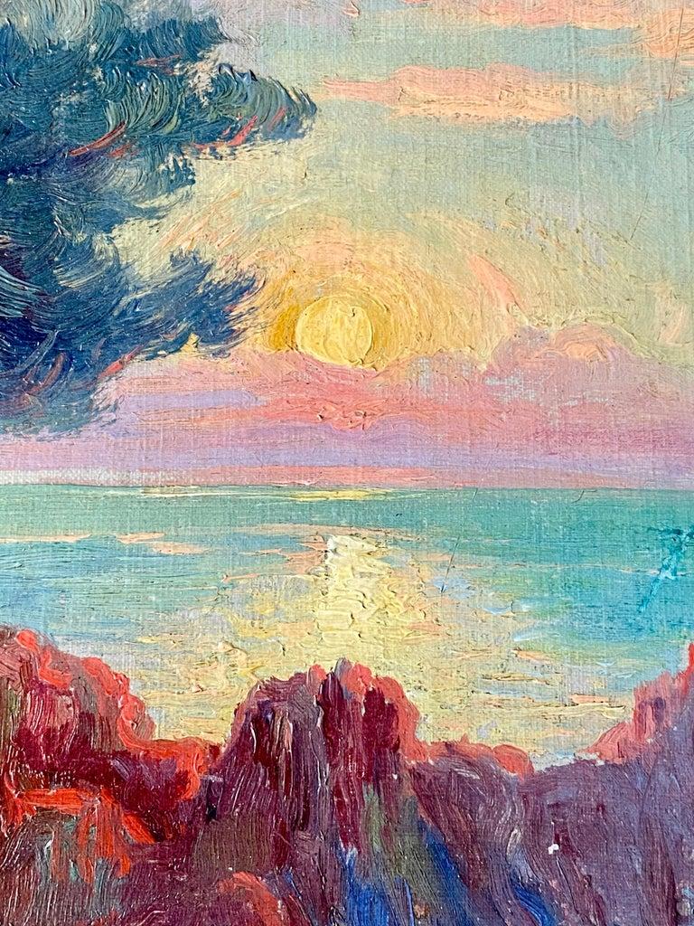 19th century French Impressionist Sunset Seascape Sea Mediterranean Coast Monet For Sale 1