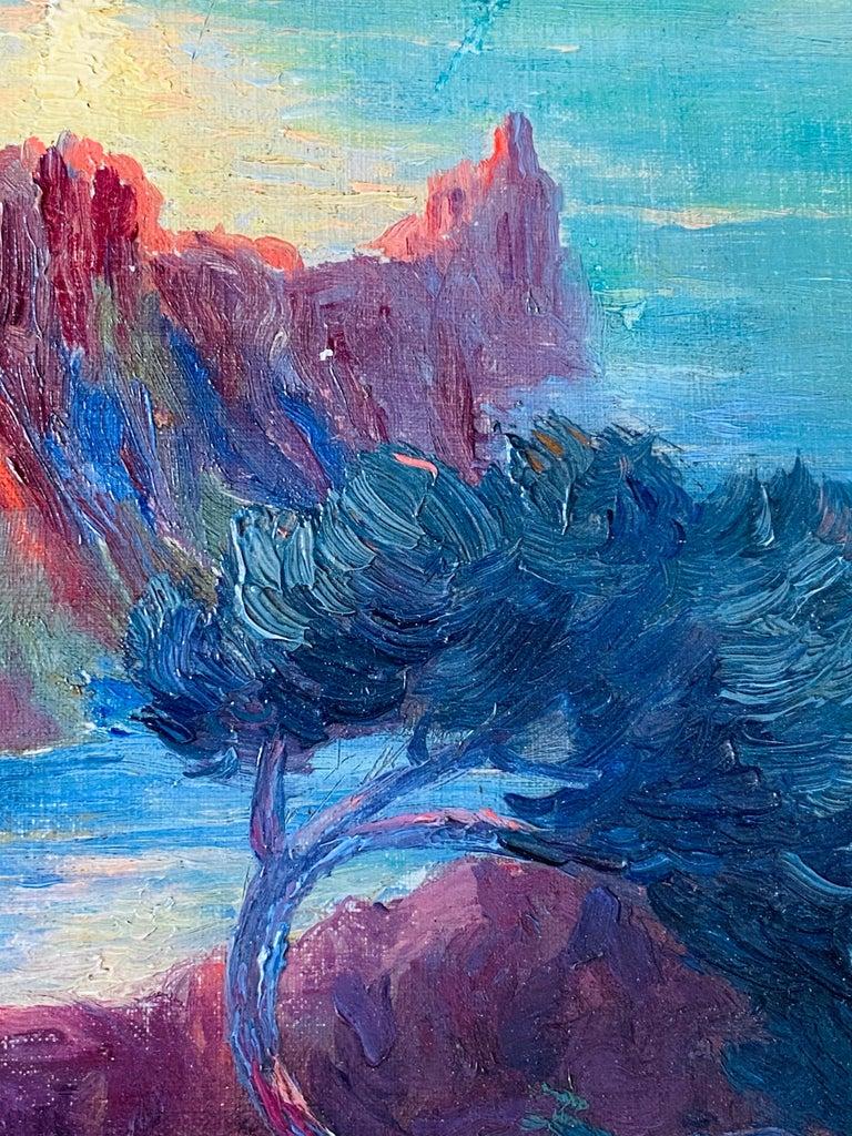 19th century French Impressionist Sunset Seascape Sea Mediterranean Coast Monet For Sale 2