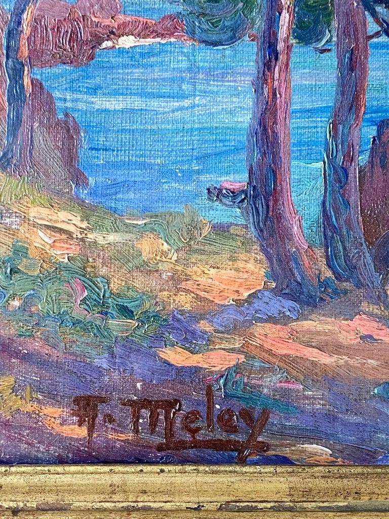 19th century French Impressionist Sunset Seascape Sea Mediterranean Coast Monet For Sale 3