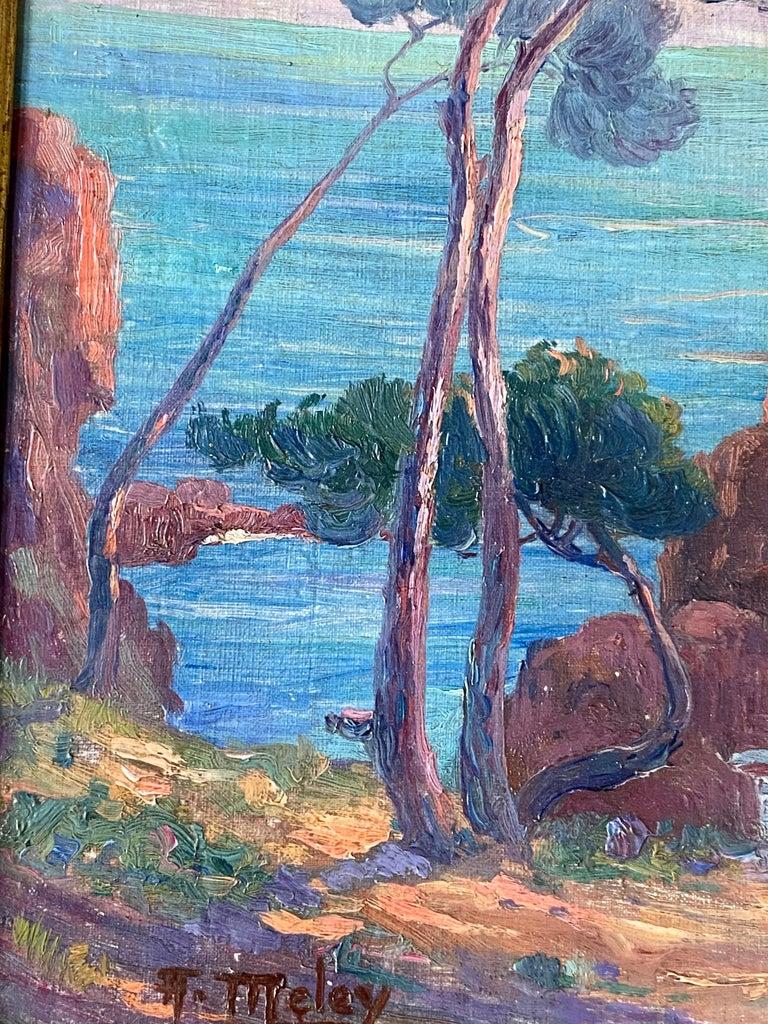 19th century French Impressionist Sunset Seascape Sea Mediterranean Coast Monet For Sale 4