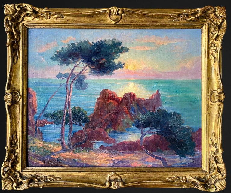 A. Meley Landscape Painting - 19th century French Impressionist Sunset Seascape Sea Mediterranean Coast Monet