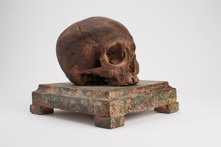 Painted plaster memento mori skull over a painted wooden base, Italy, circa 1870.