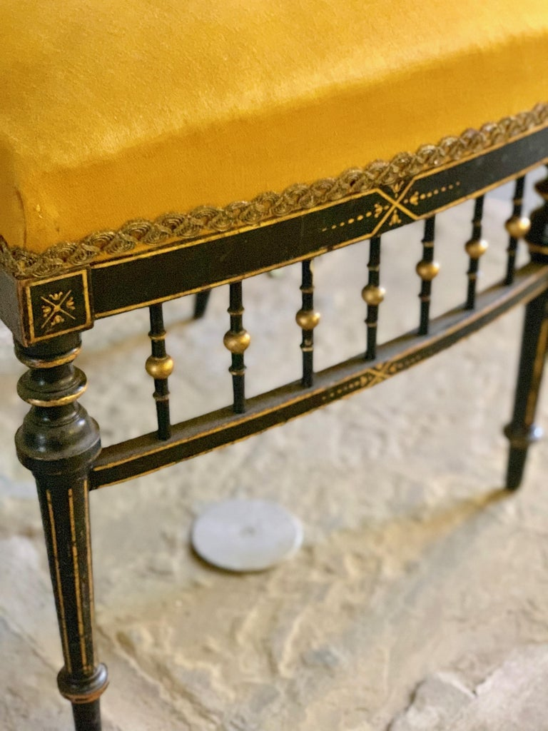 Ebonized Early 20th Century French Chair with Gilt Detailing