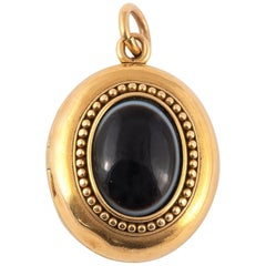 Mid-19th Century Agate and Gold Locket Pendant