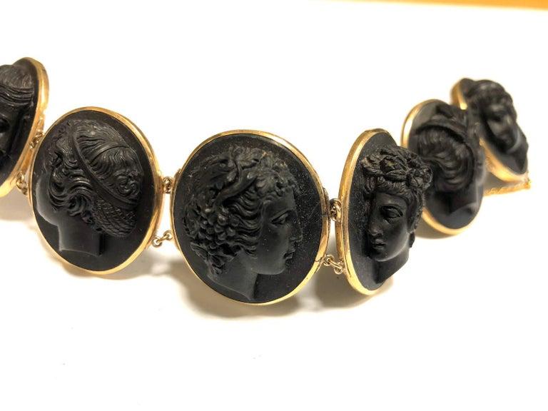Women's or Men's Mid-19th Century Black Lava Cameo Bracelet For Sale