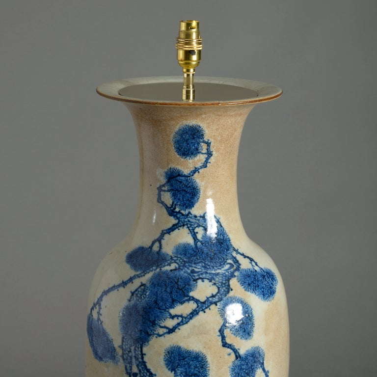 Glazed Mid-19th Century Chinese Export Porcelain Vase Lamp For Sale