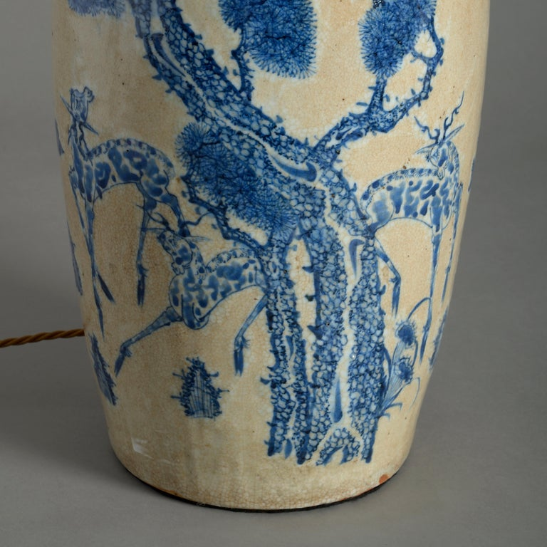 Mid-19th Century Chinese Export Porcelain Vase Lamp In Good Condition For Sale In London, GB