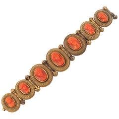 Mid 19th Century Corallium Rubrum Cameo Panel Bracelet, Circa 1840