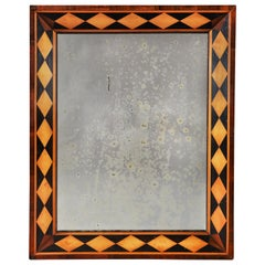 Mid-19th Century English Parquetry Mirror with Mercury Plate