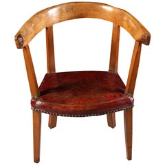 Mid-19th Century French Elm Alpine Armchair with Red Morocco Leather Seat