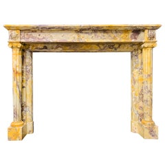 Mid-19th Century French Neoclassical Giallo di Siena Marble Fireplace Surround