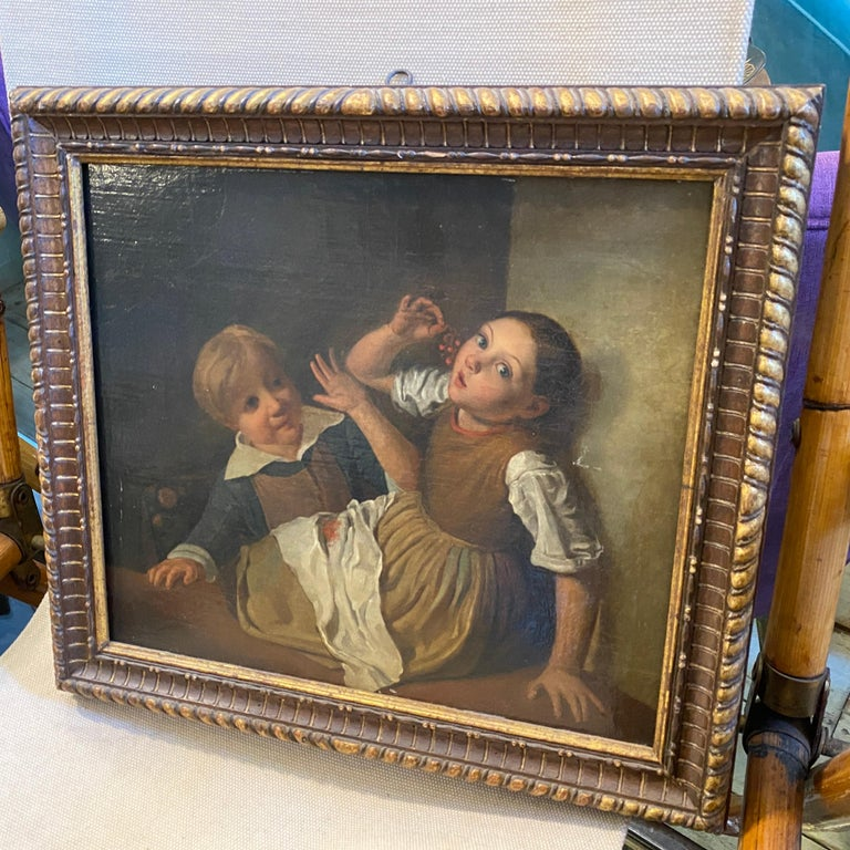 Mid-19th Century Giltwood Framed Painting Depicting Two Childs Eating Grape For Sale 8