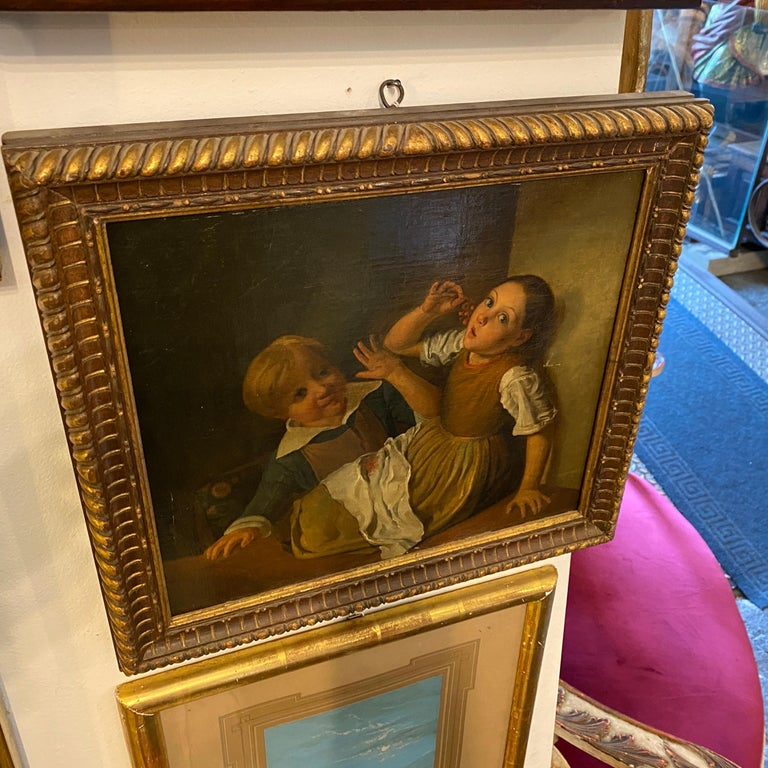 Mid-19th Century Giltwood Framed Painting Depicting Two Childs Eating Grape For Sale 2
