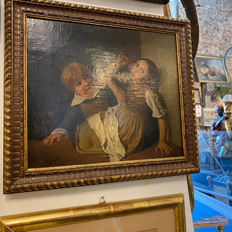 Mid-19th Century Giltwood Framed Painting Depicting Two Childs Eating Grape For Sale 3