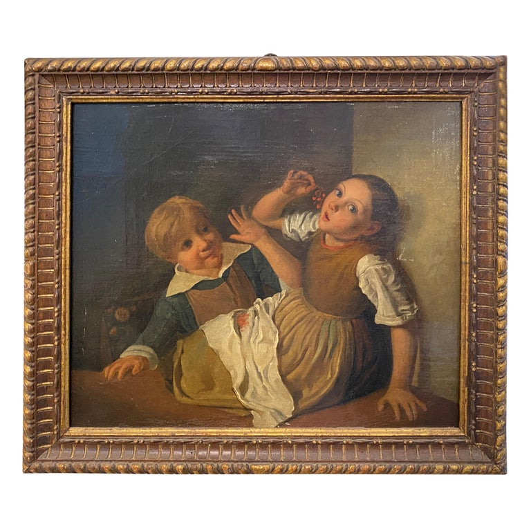 Mid-19th Century Giltwood Framed Painting Depicting Two Childs Eating Grape For Sale