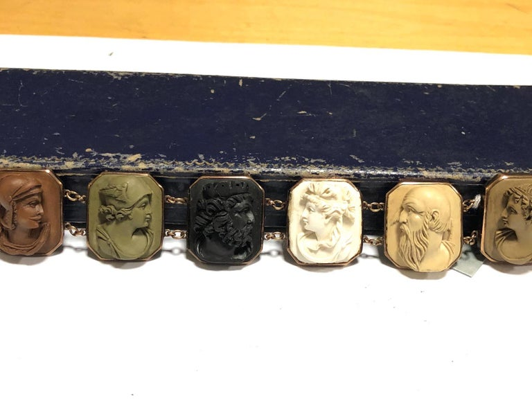 Victorian Mid-19th Century Lava Cameo Bracelet, circa 1870 For Sale