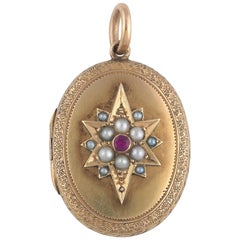 Mid-19th Century Ruby and Pearl Locket or Pendant
