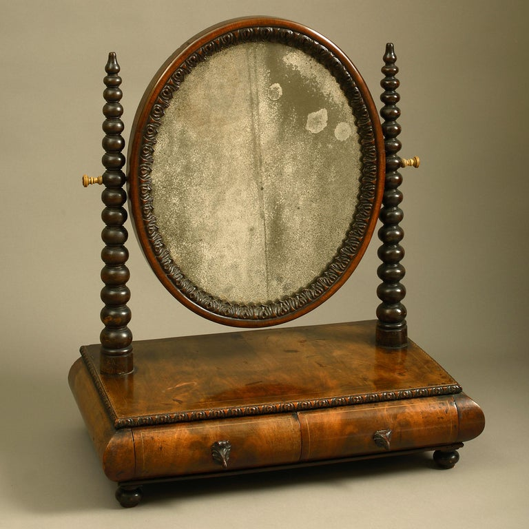 Mid-19th Century Victorian Walnut Dressing Table Mirror For Sale 1