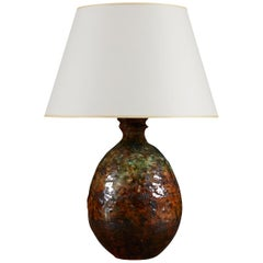 Mid-20th Century Art Pottery Vase as a Table Lamp with Green and Brown Glaze